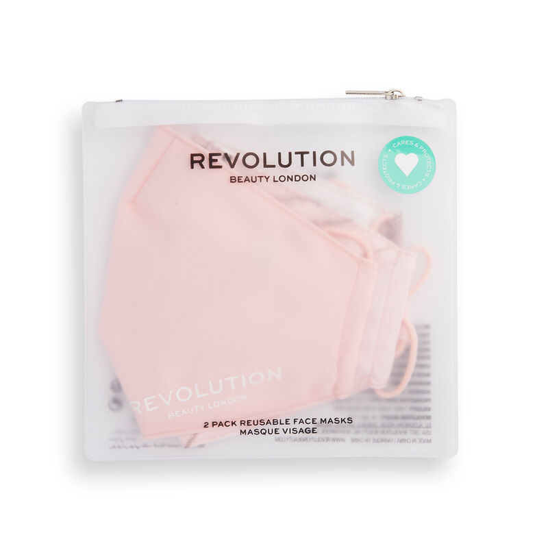 Makeup Revolution Re-useable Fabric Face Covering Pink 2 Pack