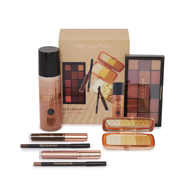 Makeup Revolution Illuminate & Glow Gold Set