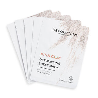 Revolution Skincare Biodegradable Detoxifying Pink Clay Sheet Mask 5 Pack