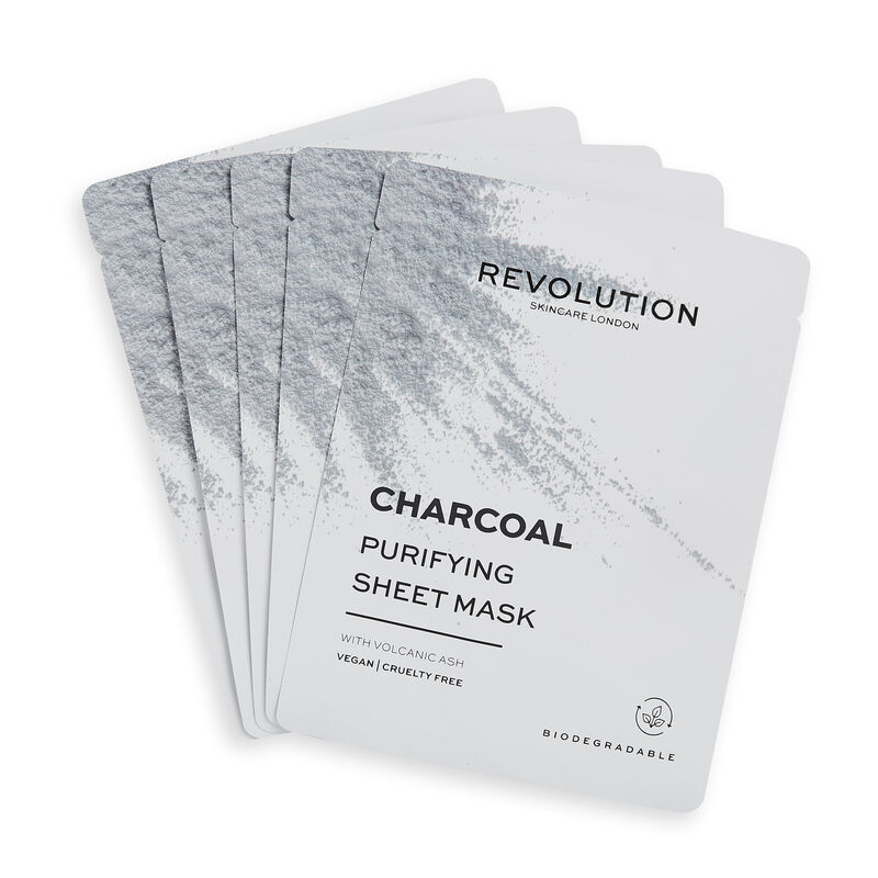 Revolution Skincare Biodegradable Purifying Charcoal Sheet Mask 5 Pack