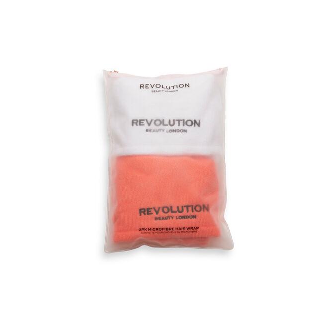 Revolution Haircare Microfibre Hair Wrap White & Coral