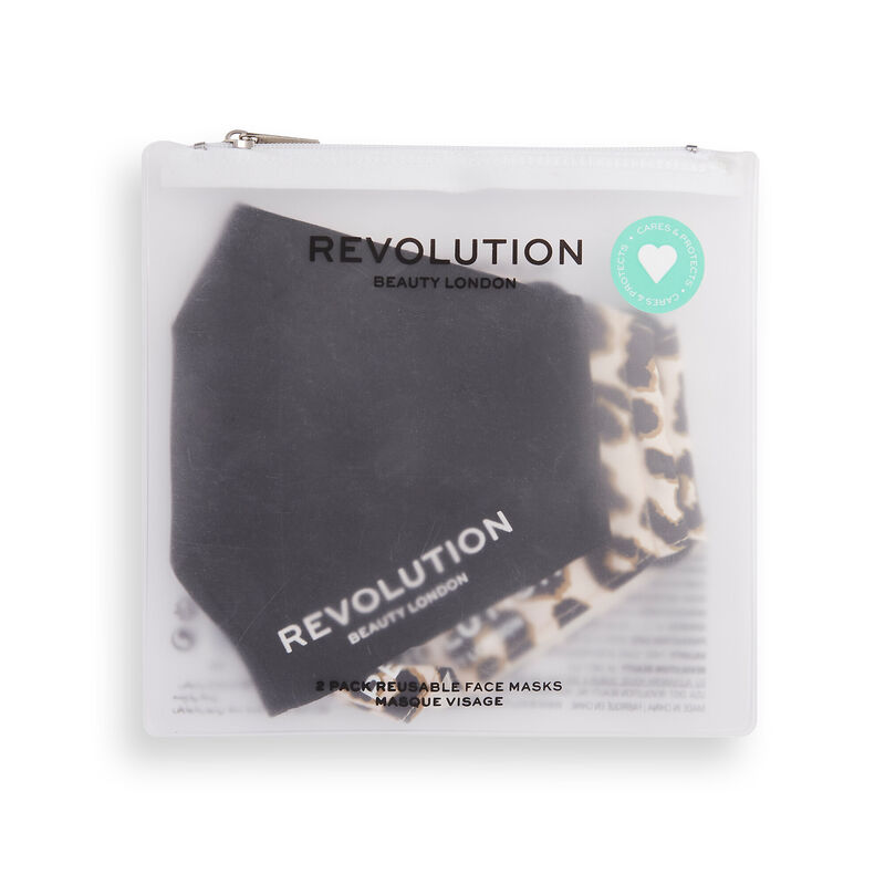 Makeup Revolution Re-useable Fabric Face Covering Black 2 Pack
