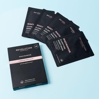 Revolution Skincare Biodegradable Clarifying Niacinamide Sheet Mask 5 Pack